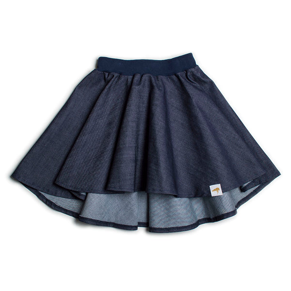 High Low Circle Skirt- Dark Organic Denim