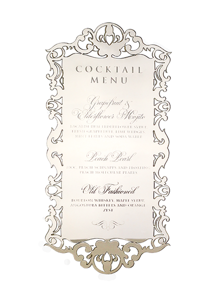 Butterfly Ornate Gold Mirror Perspex Menu
