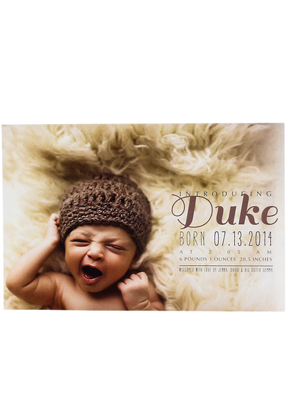 Duke Birth Annoucement Card