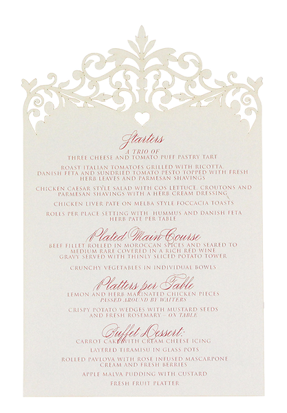 Palace Garden Menu in Cream and Pink