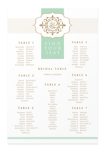 Moroccan Flair Seating Chart Canvas