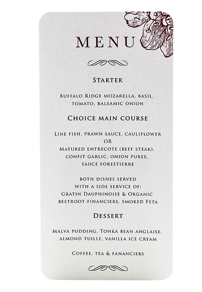 Bordeaux Menu