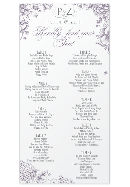 Lilac Blooms Seating Chart Canvas