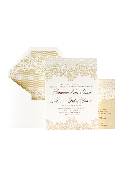 Lovely Lace Invitation - Gold