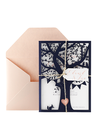 Woodlands Love Invitation - Navy and Pink Edition