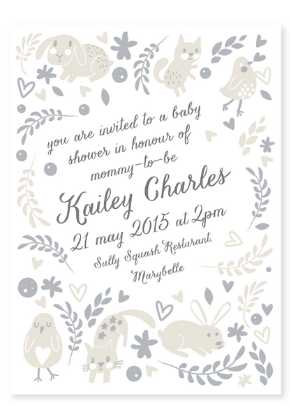 Forest Friends Baby Shower Invitation - Digital Neutral