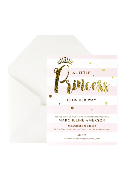 A Little Princess Invitation - Pink