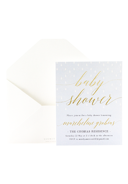Glitter Showers Invitation - Blue