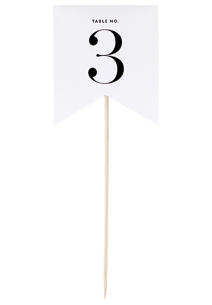 Flirty Flag Table Number - White