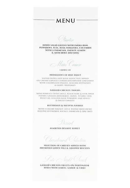 French Provincial Menu