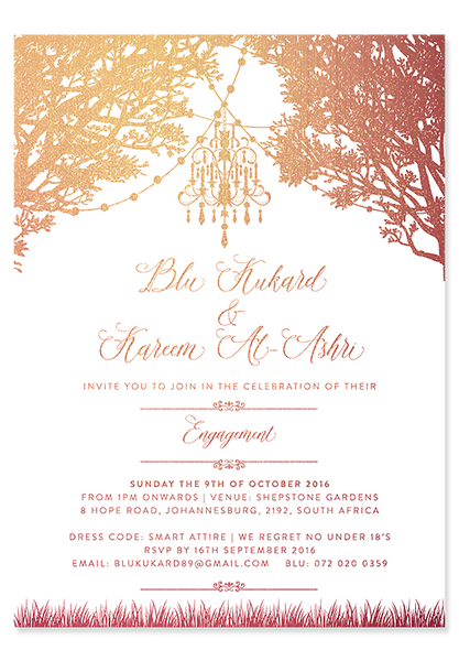 Copper Chandelier Digital Invitation