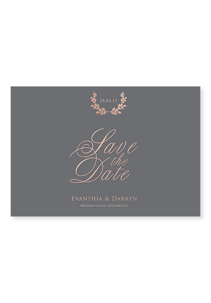 Charcoal Rose Gold Digital Save the Date