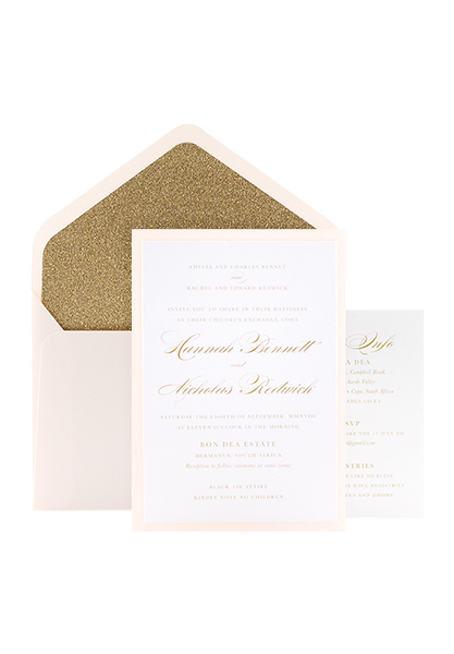 Glitter Glitz Invitation - Blush and Gold Glitter