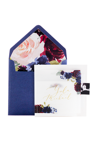 Flora Stitched Booklet Invitation