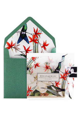 Hummingbird Stitched Invitation Booklet