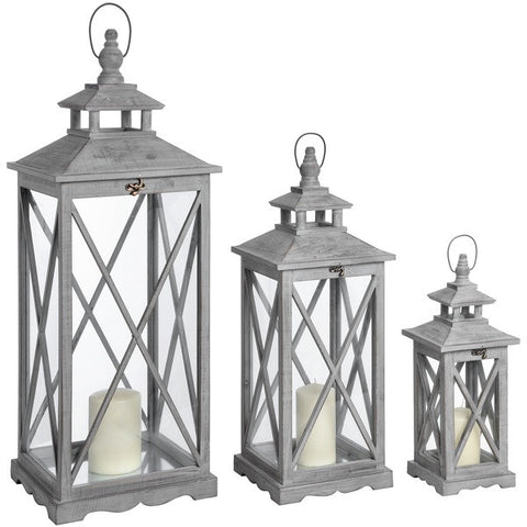 Set of Three Wooden whitewash Lanterns
