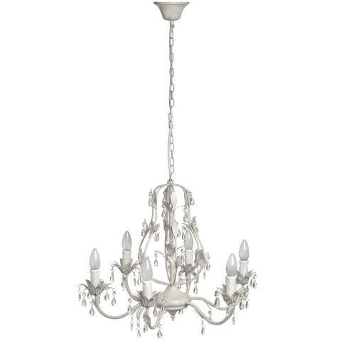 Six Lamp Crystal Effect Drop Chandelier