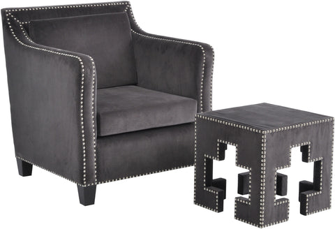 700483 Grey Velvet Studded Occasional Chair
