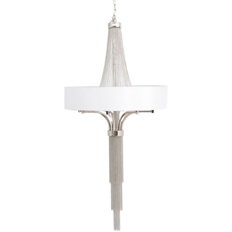Langan Chandelier Large White Shade And Silver Chains E14 40W 8