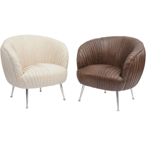 Pleated Brown Leather Occasional Chair – Gatsby Collection