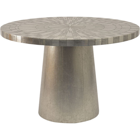 Coco Silver Embossed Metal 4 Seater Round Dining Table