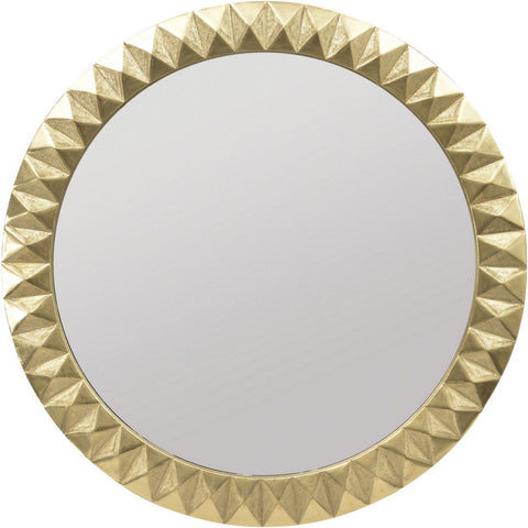 Savoy Gold Brass Embossed Metal Round Mirror