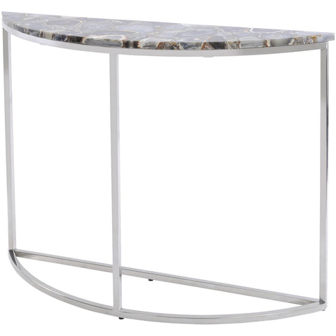 Agate Crescent Console Table On Nickel Frame