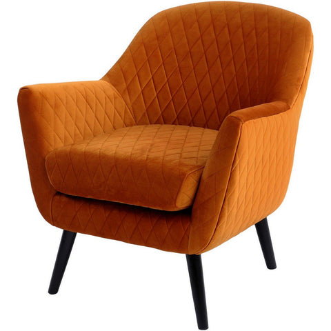 Ellison Orange Velvet Quilted Occasional Chair
