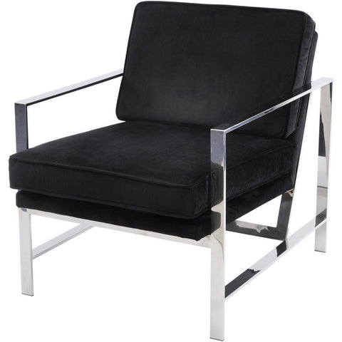 Caverly Black Velvet Chrome Frame Occasional Chair