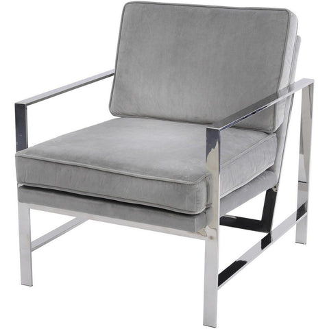 Caverly Grey Velvet Chrome Frame Occasional Chair