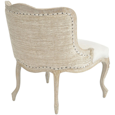 Everly Mindi Wood White Wash Button Back Occasional Chair