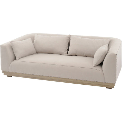 Amerigo Mindi Wood Three Seater Sofa With Cushions