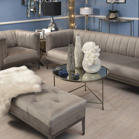 Belgravia Grey Three Seater Ribbed Sofa