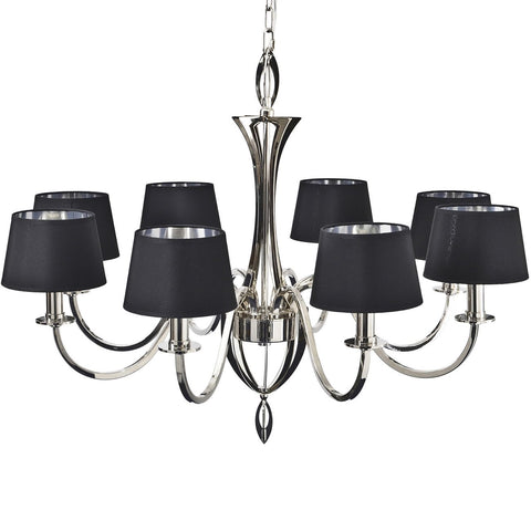 Aperfield Nickel Chandelier with Black Shades E14 40W 8