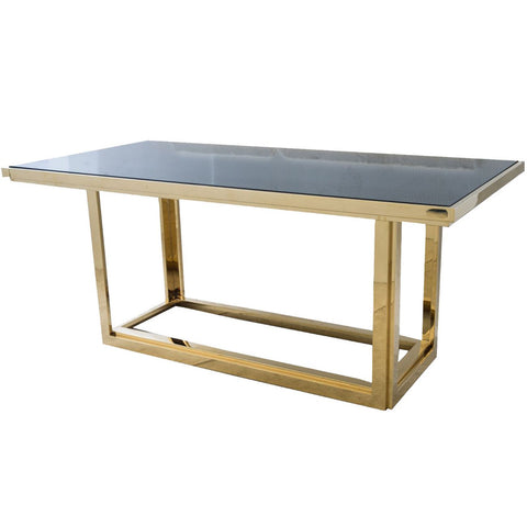 Gatsby Rectangular Gold Dining Table With Smoked Glass