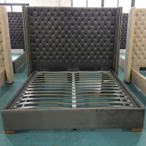 Aprilia Grey Button Back Super King Size Bed Frame