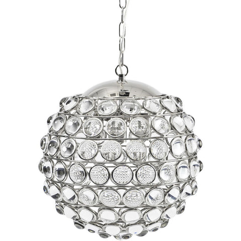 Oakley Round Nickel Crystal Chandelier