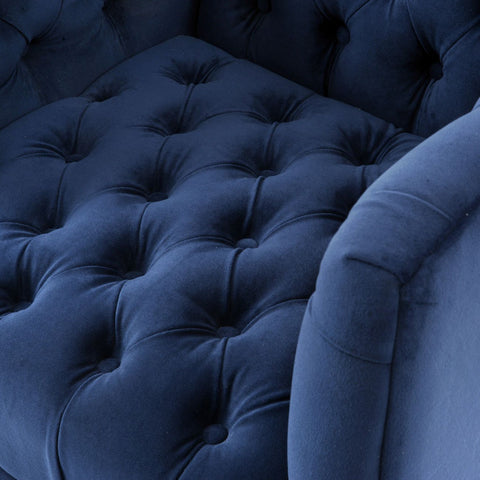 Arya Blue Velvet Button Detail Occasional Chair