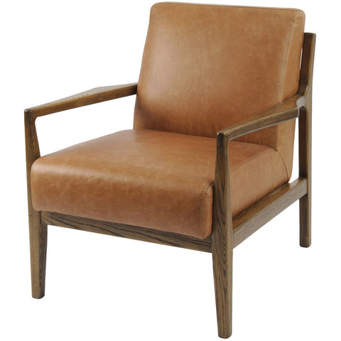Albury Tan Leather And Wood Occasional Chair
