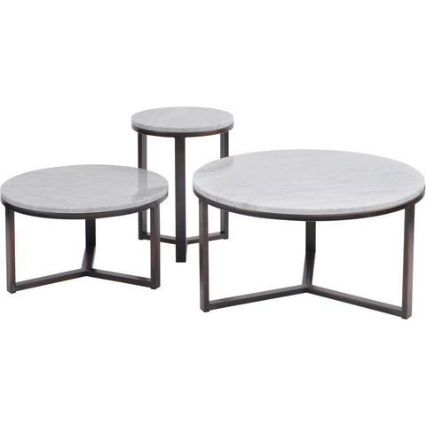 Fitzroy Pale Grey Carrara Marble and Bronze Coffee Table, Large