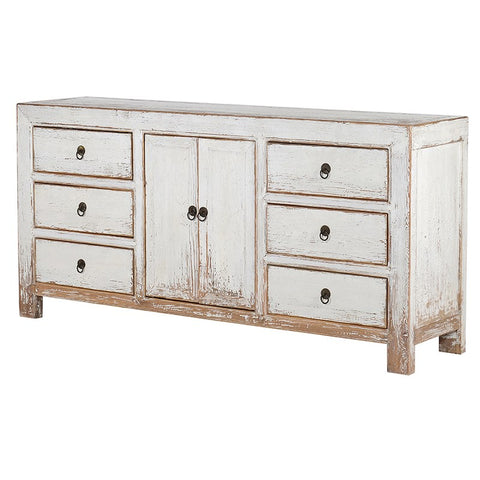 6 Drawer 2 Door White Cabinet