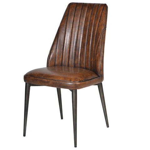 Brown leather look pleated Dining Chair