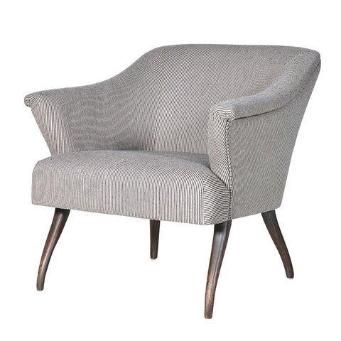 BEIGE PINSTRIPE EASY CHAIR