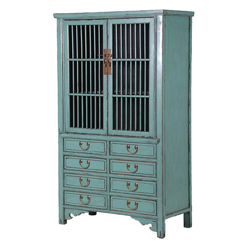 Blue Painted Cupboard with Drawers