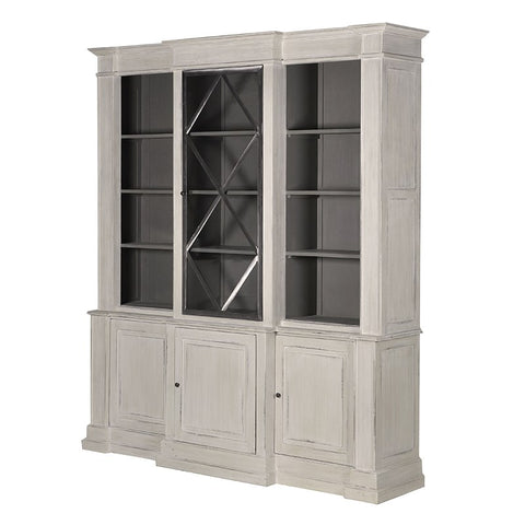 Large Grey-Wash Stepped Bookcase