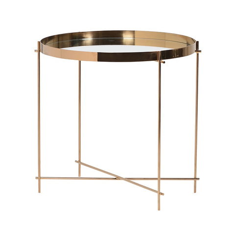 GENESIS GOLD FRAMED MIRROR END TABLE