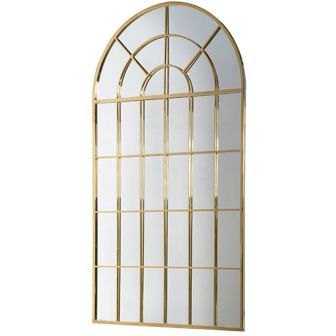 Large Gold Windowpane Mirror