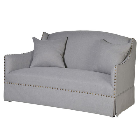 Froste Light Grey 2 Seater Sofa with Studs
