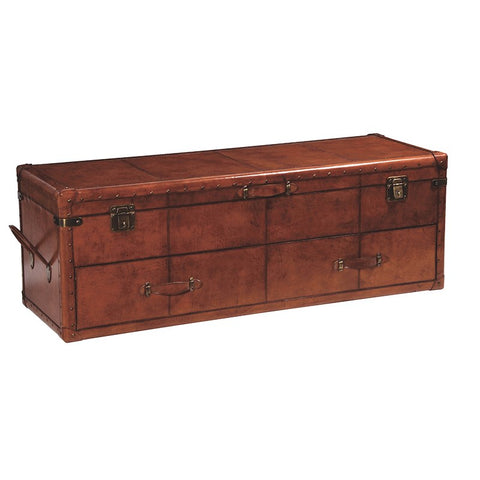 Tan Leather Long Trunk with Drawers