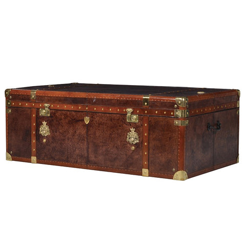Tan Leather Trunk Coffee Table